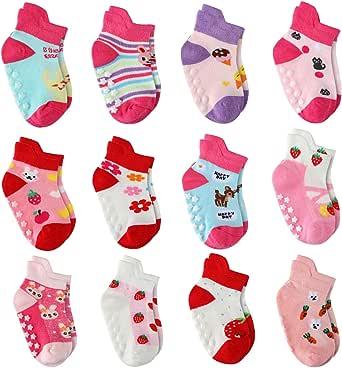12 Coppie Ragazze del Neonato Infantile Bambino Calzini di Cotone, Calzini Antiscivolo per Bambine e Ragazze per Bebè