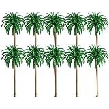 10 st modell kokosnöt palmträd, landskapsmodell, layout regnskog plastpalmträd diorama natur, grön modell kokosnöt palmträd,