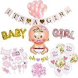SicurezzaPrima Baby Shower Decoration Fille XXL - 48 pièces - Douche de Bébé Décoration Fête de Naissance pour Fille…