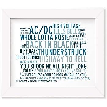 Back in Black Lyrics Gift Signed Art AC//DC Poster Print