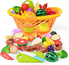NextX Küchenspielzeug Schneiden Obst Gemüse Lebensmittel Küche Kinder Pädagogisches Lernen Spielzeug Rollenspiele Weihnachtsgeschenk