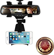 Elevea Car Rear View Mirror Mount Holder for Smartphones/iPhones (Assorted Colour)