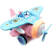 Emob® Cute Friction Powered Wheels Musical Biplane Airplane Toy with Flashing Lights for Kids