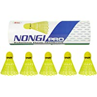 Nongi Pro Shuttlecocks (5 Yellow Plastic) for Outdoor Indoor Sports