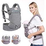 BelleStyle Babydraagzak - puur katoen, ademend, verstelbaar, ergonomische kinderdrager/baby rugdrager voor pasgeborenen en pe