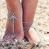 Jovono, cavigliera con nappa turchese, bracciale da caviglia per spiaggia, per piedi nudi o sandali, per donne e ragazze, con