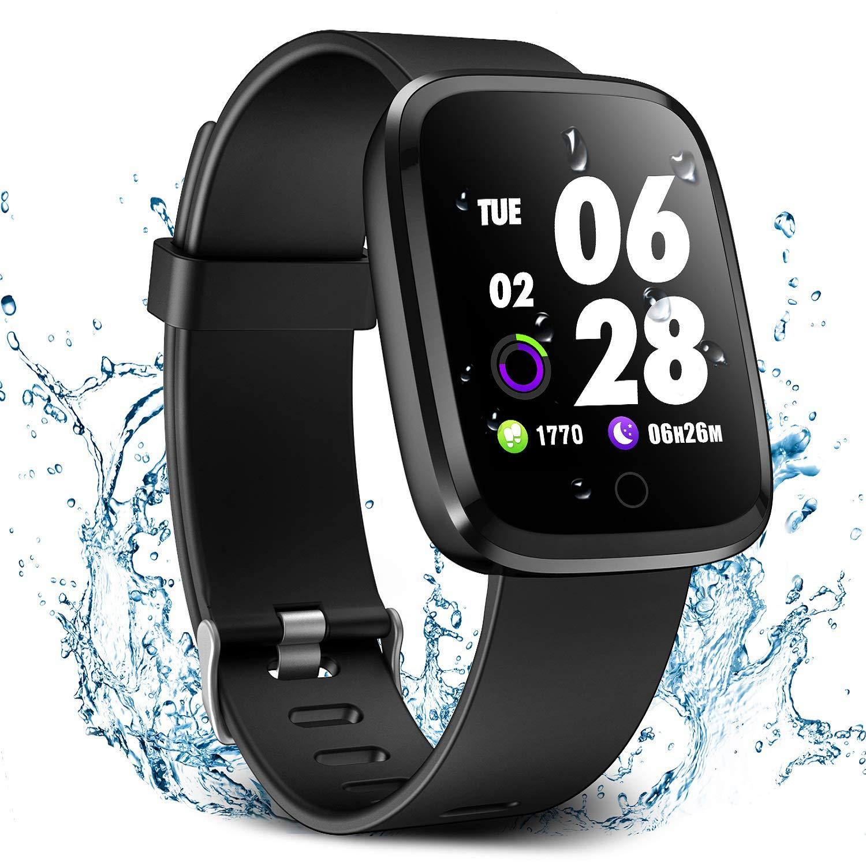 Verpro Smart Watch, Waterproof Fitness Activity Tracker with Heart Rate Monitor, Wearable Oxygen Blood Pressure Wrist Watch, Bluetooth Running GPS Pedometer Sport Wristband, Black