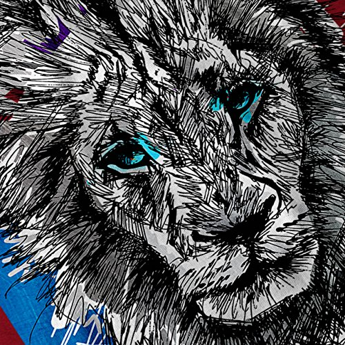 Löwe Tier Natur Tier Majestätisch Blau Damen S-2XL Muskelshirt | Wellcoda Rot