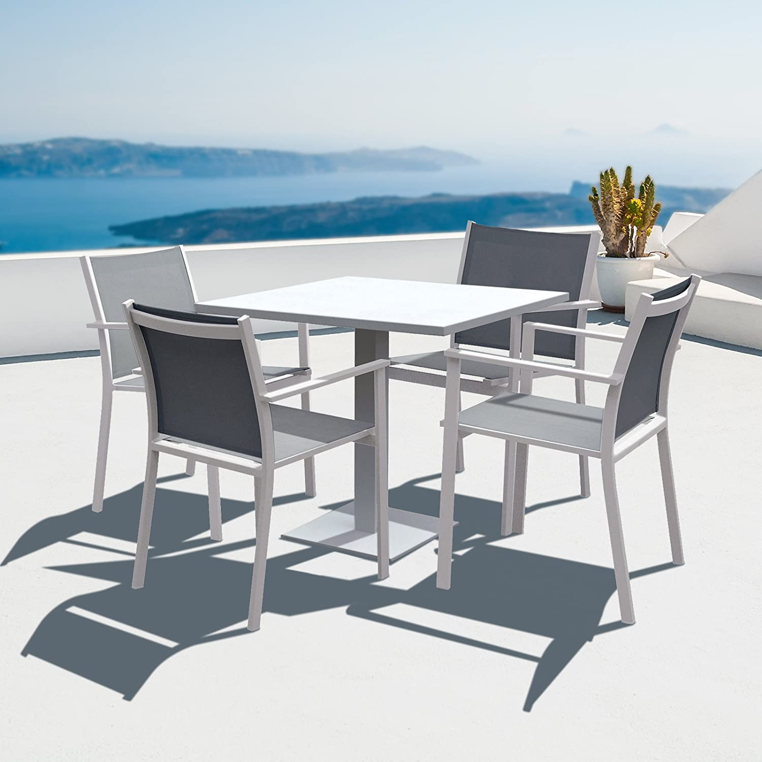 Cozy Bay 4 Seater Verona Aluminium And Textilene Dining Set  # Muebles Seys Verona