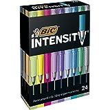 BIC Intensity Fine Metallic Marqueurs Permanents Pointe Fine - Couleurs Assorties, Boîte de 24