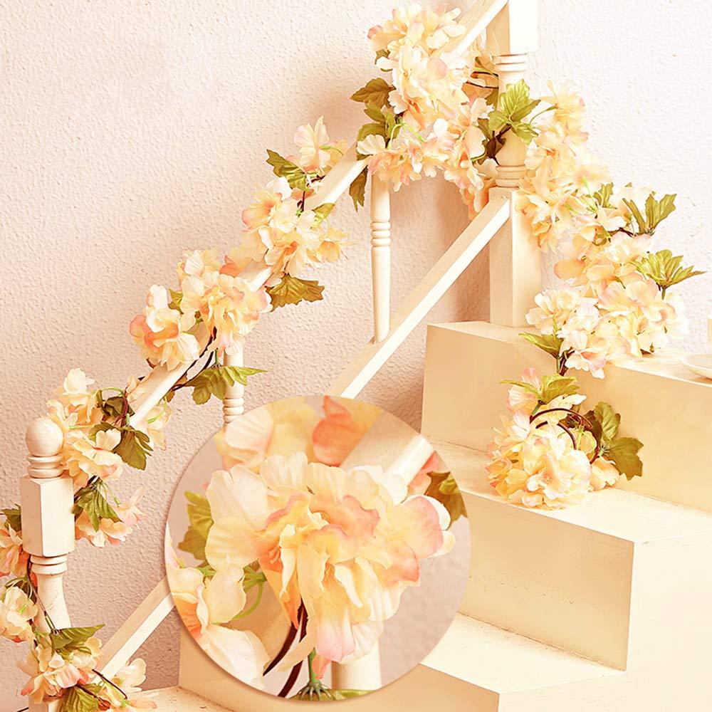 MZMing 2piecesx235cm Artificial Cereza Colgando Vid Flor Artificial Brote Flor Planta Artificial Flor Vid Hojas Para…