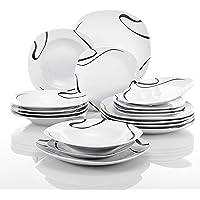 VEWEET, série 'Kayla Service combiné en porcelaine ',set de 18 assiettes, chacune avec 6 assiettes à dessert, assiette…