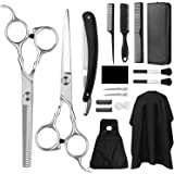 Hair Cutting Scissors Set,Icnow 18 PCS Professional Hair Cutting Kits Straight Scissors Thinning Shears Hair Razor Comb…