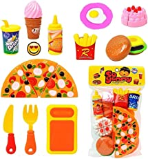 Realistic Sliceable Fast Food Lunch Play Pizza Set Toy for Kids| Restaurant Role Pretend Play