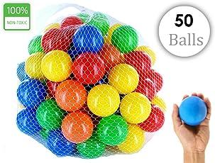 EEVOVEET Kids Premium Plastic Pool Balls without Sharp Edges, 8cm (Multicolour) - Set of 50