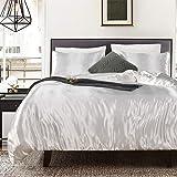 Bonhause Sets de Housse de Couette 200 x 200 cm + 2 Taies d'oreiller 65 x 65cm Soie comme Le Satin Blanc Parure de Lit 2 Pers