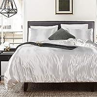 Bonhause Sets de Housse de Couette 200 x 200 cm + 2 Taies d'oreiller 65 x 65cm Soie comme Le Satin Blanc Parure de Lit 2…