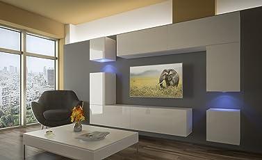 Home Direct Prag N5 Modernes Wohnzimmer Wohnwände Wohnschränke Schrankwand Schwarz  Weiß Hochglänz AN5 17BW