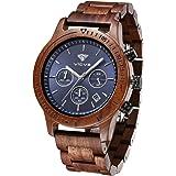 Orologio da uomo in legno VICVS, orologio da uomo Pterocarpus soyauxii in noce nero, cronografo multifunzione con cinturino i
