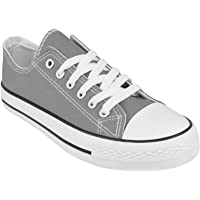 Ladies Canvas Shoes Womens Girls Shoes Casual Lace Up Retro Plimsolls Plimsoles Low Top Flat Gym Sports Trainers…