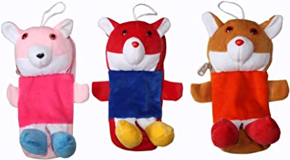 KRIDAY Newborn Baby Feeding Bottle Cover with Soft and Attractive Fancy Cartoon (Multicolour) - Set of 3
