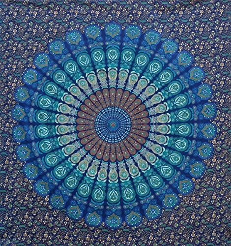 Tema de color azul doble tama o mandala tapices de pared - Tapices de pared ...