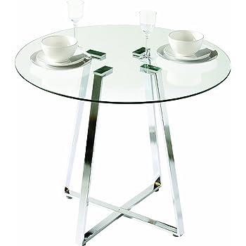 premier housewares runder esstisch metropolitan aus glas mit chrom beinen 76 x 90 x 90 cm. Black Bedroom Furniture Sets. Home Design Ideas
