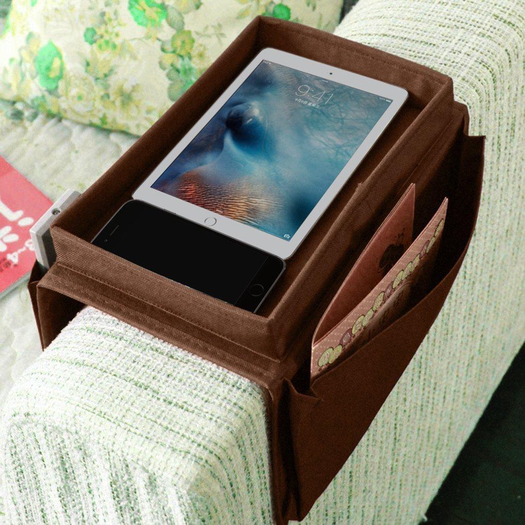 Organizador para reposabrazos de sofá con 6 bolsillos para mandos a distancia de TV y bandeja, apto para sofás y sillones