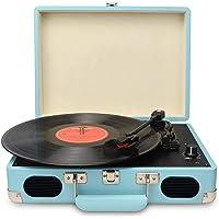 DIGITNOW! Tragbarer Gürtel-Drive 3-Gang-Retro-Style-Plattenspieler Vinyl-Schwarzer Aktenkoffer-Plattenspieler mit Stereo…