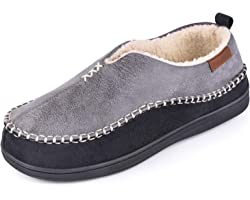 EverFoams Men's Suede Memory Foam Moccasin Slippers with Fuzzy Sherpa Lining