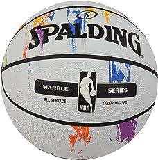 Spalding NBA Marble Series Rainbow Basketball, Size 7 (White)