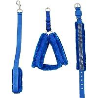 Skora Fancy Nylon Blue Fur .75 inch Small Dog Harness, Dog Collar & Leash (Chest Size : 26-30 inch)