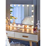 LUXFURNI Vantity Tabletop Makeup Hollywood Mirror Dimmable Light Touch Control 18 cold/Warm LED Lights, Detachable 3x Magnifi