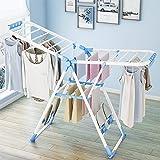 Todeco Séchoir à Linge Réglable, Etendoir à Linge Pliable, Blanc/Bleu, Taille déployée: 138 x 95 x 56 cm, Dimensions du produ