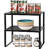 LIANTRAL Insert d'étagère pour armoire de cuisine   Étagère de rangement empilable en métal extensible pour accessoires de cu