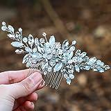 Simsly, pettine/copricapo per capelli, accessorio per sposa, damigella o ballo, con opale blu, color argento, fs-106