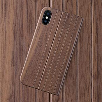 iATO iPhone X/XS Book Type Case - Real Walnut Wood Grain Premium Protective Front & Back Cover - Unique Folio Flip Bumper Accessory for iPhone X (2017) & XS (2018) - Supports Wireless Charging