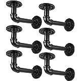 Supports d'étagère de tuyau industriel pour étagères 8 10 12 pouces, support d'étagère flottant de tuyau en métal noir en L-S
