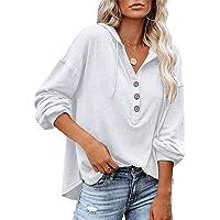 PLOKNRD Sweat-Shirt surdimensionné à Manches Longues pour Femme Pull à Capuche boutonné avec Cordon de Serrage