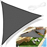 Emooqi Voile d'Ombrage Triangle, Voile d'Ombrage Toile d Ombrage HDPE Triangulaire 5x5x5M Rayons UV Résistante Aéré Voile Omb