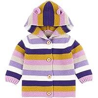 Cardigan bébé Manteaux à Capuchon Nouveau-né garçons Filles Rayures Veste tricotée Pull Chaud