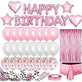 iZoeL Rosa födelsedagsfestdekorationer för flickor, grattis på födelsedagen-banderoll, ballonger, fransgardin, foliebordsduk,