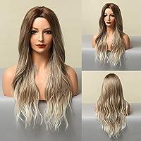 HAIRCUBE Lange lockige Perücken Natural Wave Ombre Perücken Dunkelbraune bis weiße Perücken Mittelteil Haar…