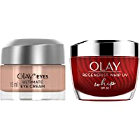 Olay Eye Cream Olay Eyes for Dark, Circles Wrinkles & Puffiness, 15ml and Olay Regenerist Whip Uv Spf 30, 185 g