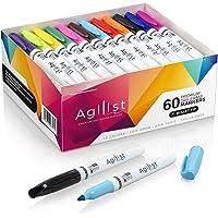 Agilist Marqueurs premium pour tableau blanc, lot de 60, effaçables à sec, pointe ronde, non toxiques, à faible odeur…