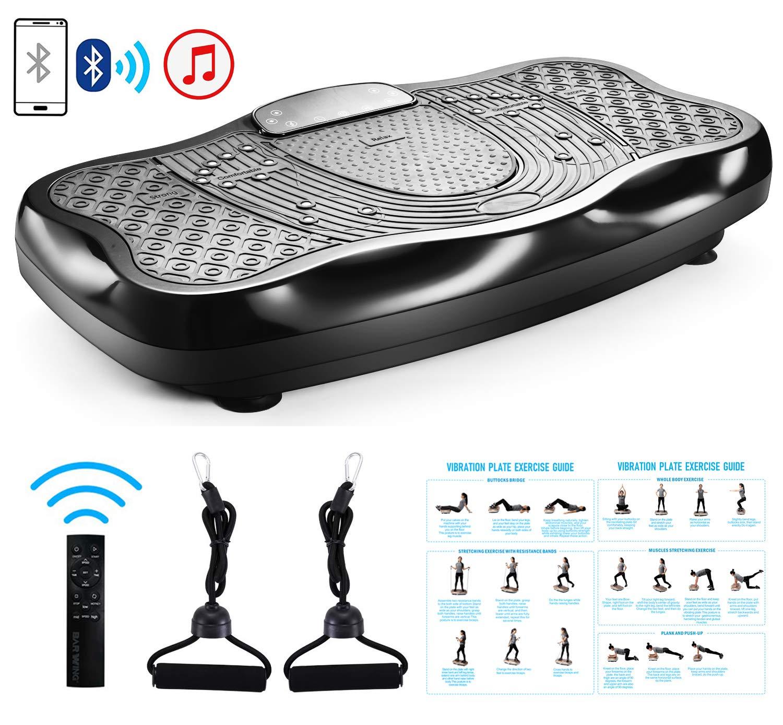 FITODO Vibrationsplatte Power Plate Vibrationstrainer Für Ganzkörper Training, Fernbedienung/Bluetooth Musik/Widerstandsbänder/Geschwindigkeits Einstellbar (Maximal belastung 150kg, Schwarz)