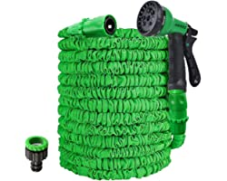 AWXYZ Garden Hose, 25FT/50FT/75FT/100FT/125FT Expanding Hose Pipe,Hosepipes for Garden with 8 Function Hose Nozzle,3 Times Ex