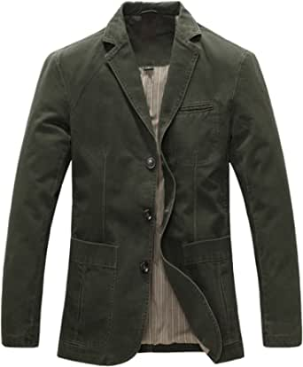 Allthemen Mens Casual Blazer Slim fit Long Sleeve Jacket Washed Cotton 3-Button Casual Suits Blazer Jackets