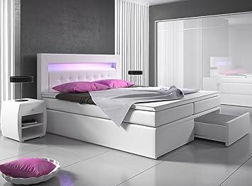 Boxspringbett weiß  Boxspringbett 140x200 Weiß mit Bettkasten LED Kopflicht Hotelbett ...