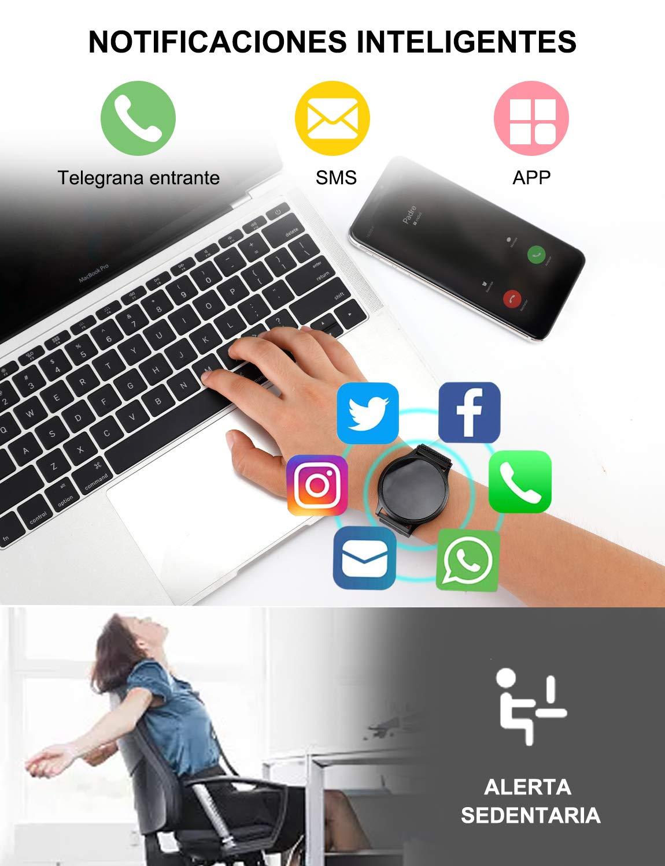 NAIXUES Smartwatch, Reloj Inteligente IP67 Pulsera Actividad Inteligente con Pulsómetro, Monitor de Sueño, Podómetro, Calorías Mujer Hombre para iOS y Android (Dorado) 5